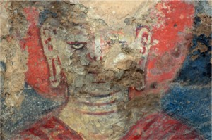 Oil painting found in the Bamiyan caves